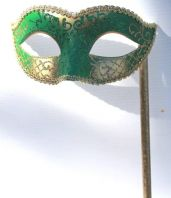 Green and Gold Mask on Stick